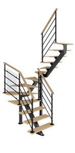 Escalier double quart tournant intermédiaire poutre centrale bois métal Poutre² Les Menuiseries Françaises