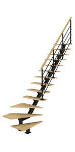 Escalier quart tournant bas avec poutre centrale bois métal Poutre² Les Menuiseries Françaises