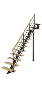 Escalier quart tournant haut avec poutre centrale bois métal Poutre² Les Menuiseries Françaises