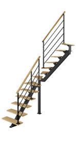 Escalier quart tournant intermédiaire poutre centrale bois métal Poutre² Les Menuiseries Françaises