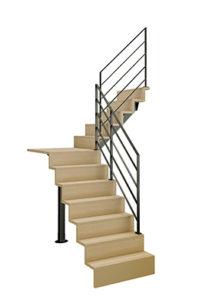 Escalier LIAISON quart tournant Intermédiaire avec palier