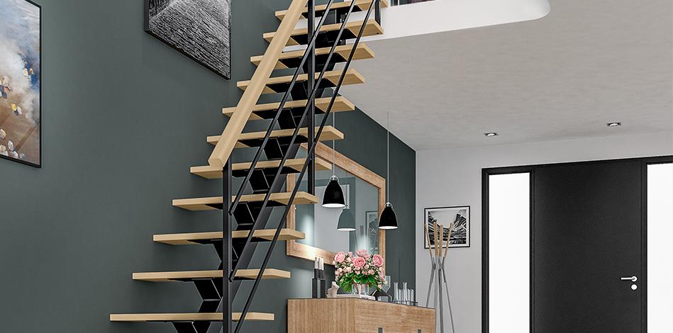 Escalier duo bois et metal Accord
