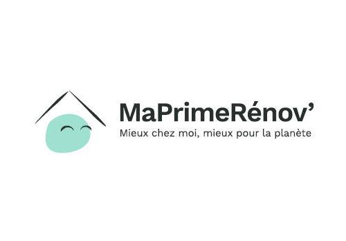 logo maprimerénov' toit d'une maison et emoticon heureux