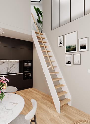 echelle de meunier Escale en bois Incolore et blanc.