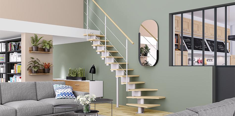 Escalier Union quart tournant bas avec marches en Sapin et poutre centrale en métal Blanc.