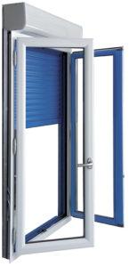 Fenêtre aluminium avec volet roulant intégré. Les Menuiseries Françaises