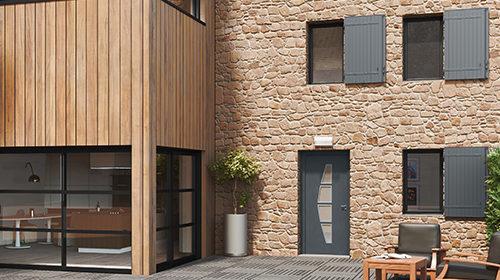 Porte d'entrée rénovée aluminium KALLIUM - Les Menuiseries Françaises