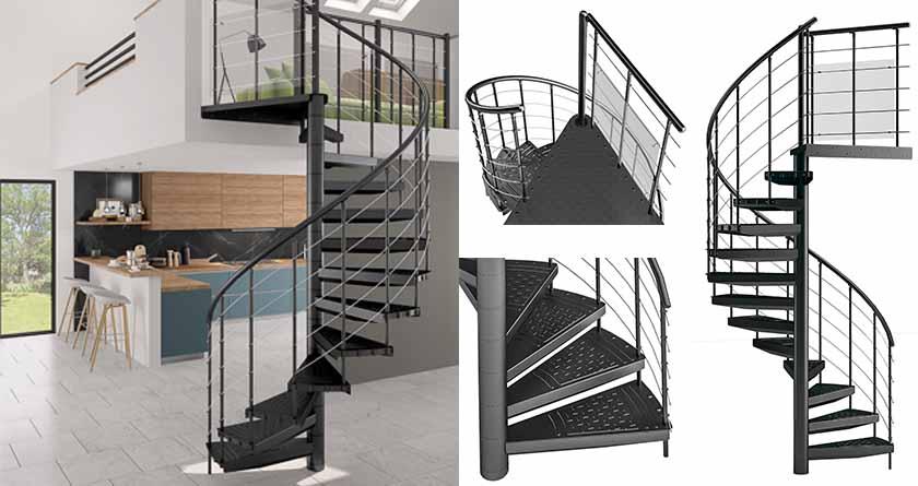 escalier hélicoïdal SPIRANOMETAL - Les Menuiseries Françaises